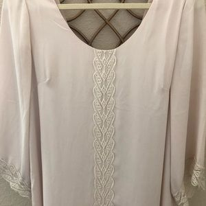 Cream 3/4 sleeve dress with lace details